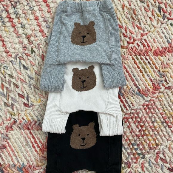 Baby Gap Girl Toddler Cable Knit Bear Tights Navy Blue Size 12-24 Months NWT